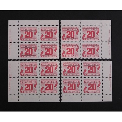 Canada J38 Plate Blocks Matched Set VF MNH